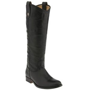 Frye Melissa  Black Leather Knee High Riding BOOTS